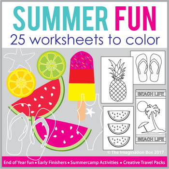 Summer Art Packet: 26 printable templates to color, fun end of year activity