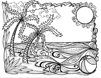 Summer at the Beach Coloring Page. Back to School by Miss Jenny Designs