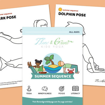 photograph relating to Yoga Cards Printable titled Summer months at the Seashore Printable Yoga Playing cards + Coloring E-book
