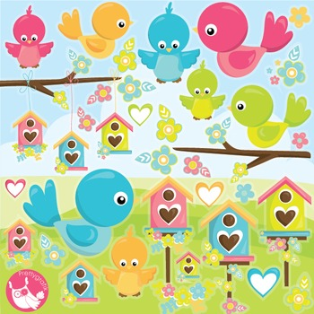 Summer birds clipart commercial use, vector graphics, digital  - CL997