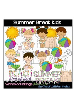 Summer break Kids Clipart Collection