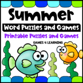 Summer Activities Packet -  Word Puzzles and Games - End of Year Literacy Center
