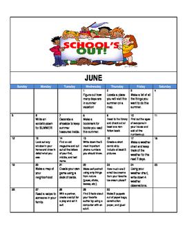 Summer 2016 activities calendar for students