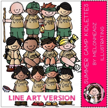 Summer camp kidlettes by Melonheadz LINE ART
