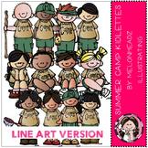 Summer camp kidlettes clip art - LINE ART- by Melonheadz