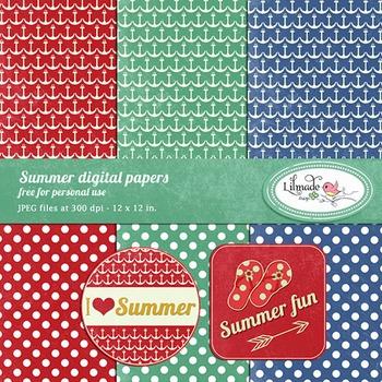 Summer digital papers and printables freebie