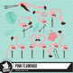 Summer flamingo clipart pack
