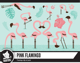Summer flamingo clipart pack