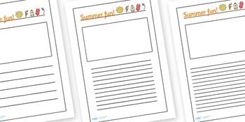 Summer fun writing frames