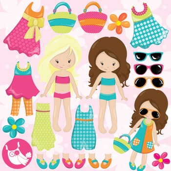 Summer girls clipart commercial use, vector graphics, digital  - CL983