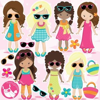 Summer girls clipart commercial use, vector graphics, digital  - CL984