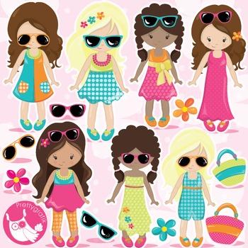 Summer girls clipart commercial use, vector graphics, digi