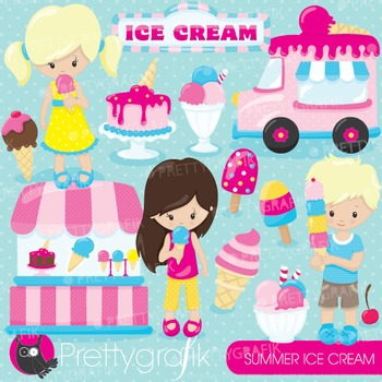 Summer ice cream clipart commercial use, graphics, digital clip art - CL877