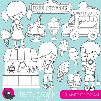 Summer ice cream stamps commercial use, vector graphics, images - DS877