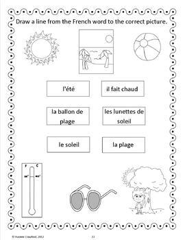 Summer Activities and Games in French - L'été en Français