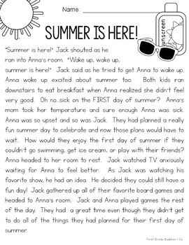 Summer is Here! {Summer Story and Reading Comprehension Mini Pack}