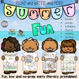 Fun, No-Prep Early Literacy Activities for Summer! K-1 +