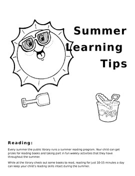 Summer learning Tips