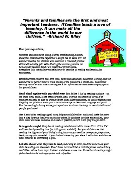 Summer letter to parents with suggested activities and reading log