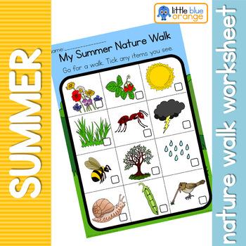 Summer Nature Walk Worksheet By Little Blue Orange Tpt