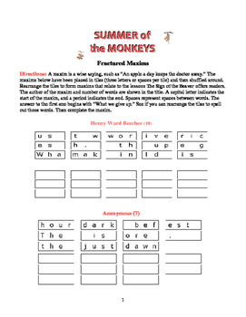 Summer of the Monkeys: 5 Fractured Maxims Puzzles—Unique Theme Activity!