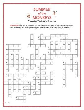 Summer of the Monkeys: 50-word Prereading Crossword—Fun!