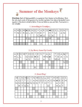 Summer of the Monkeys: 9 Quotefall Word Puzzles—Great spelling workout!