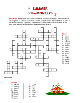 Summer of the Monkeys: Anagram Crossword—Unique Spelling Workout!