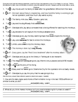 Summer of the Monkeys MOVIE Worksheet