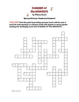 Summer of the Monkeys: Synonym/Antonym Vocabulary Crossword