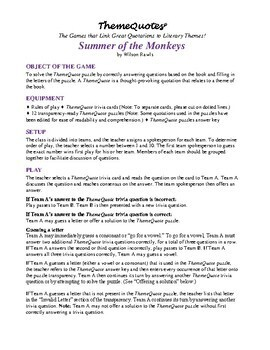 Summer of the Monkeys Trivia Game—230+ questions! Not Your Typical Trivia Game!