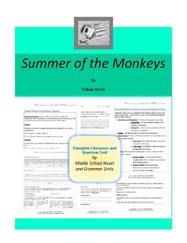 Summer of the Monkeys Complete Literature and Grammar Unit