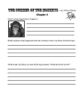Summer of the Monkeys by Wilson Rawls Novel Student Journal & Worksheets