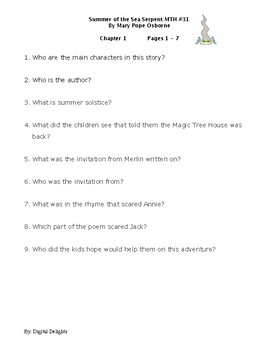 Summer of the Sea Serpent Magic Tree House #31 Comprehension Questions