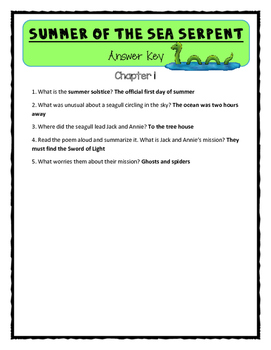 Magic Tree House SUMMER OF THE SEA SERPENT Comprehension & Citing Evidence