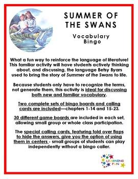 Summer of the Swans Vocabulary Bingo