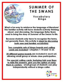 Summer of the Swans Vocabulary Bingo