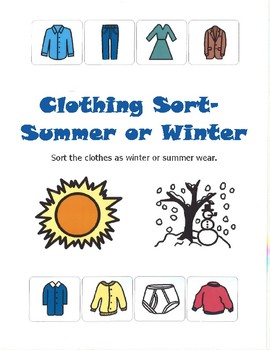 61c86ed793a Summer or Winter Clothing Sort- File Folder Activity by The Village