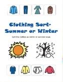 Summer or Winter Clothing Sort- File Folder Activity