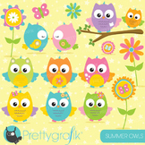 Summer owl clipart commercial use, vector graphics, digital - CL672