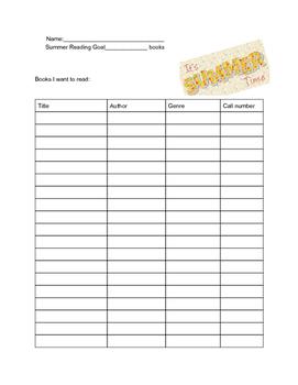 Summer reading goal sheet