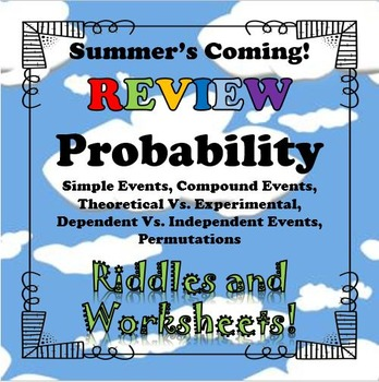 Summer's Coming! Probability BUNDLE Riddles and Worksheets...Math+Riddle=FUN!