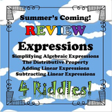 Summer's Coming! Review 4 Riddles Expressions BUNDLE...Math+Riddle=FUN!