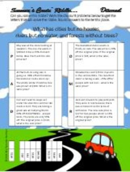 Summer's Coming! Review 5 Riddle Percent BUNDLE...Math+Riddle=FUN!