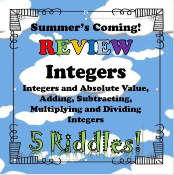 Summer\'s Coming! Review 5 Riddles Integers BUNDLE...Math+Riddle=FUN!