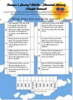 Summer's Coming! Review Riddle Percent Simple Interest...Math+Riddle=FUN!