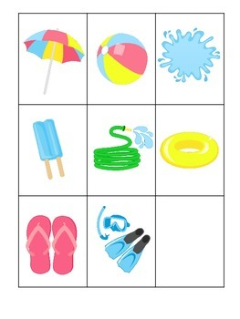 Summer season themed 3 Part Matching child care learning activity.  Preschool.