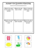 Summer season themed Answer the Question child care learning activity. Preschool