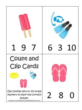 Summer season themed Count and Clip child care learning activity.  Preschool.