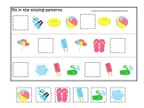 Summer season themed Missing Pattern child care learning activity.  Preschool.